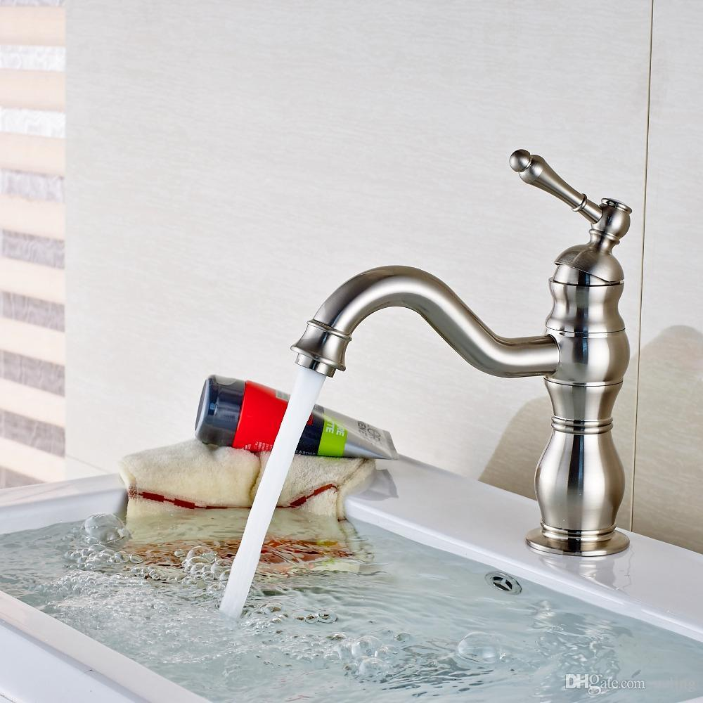 New Arrival Deck Mounted Brushed Nickel Bathroom Faucet Solid Brass ...
