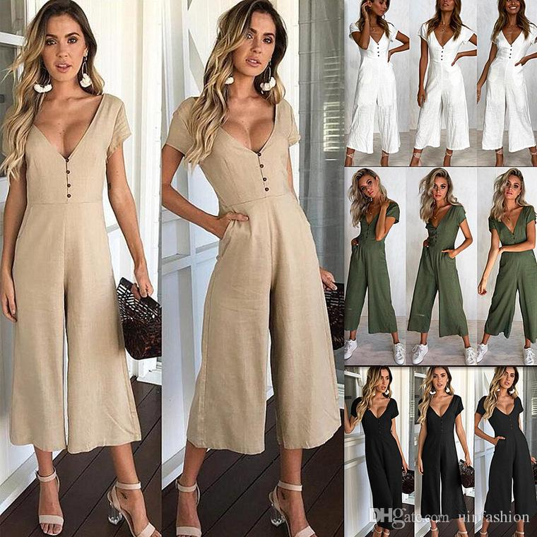 Women's Clothing Supply Fashion Summer Women V-neck Short Sleeve Backless Romper Striped Printed Sashes Bandage Playsuit Casual Loose Jumpsuit Pure White And Translucent