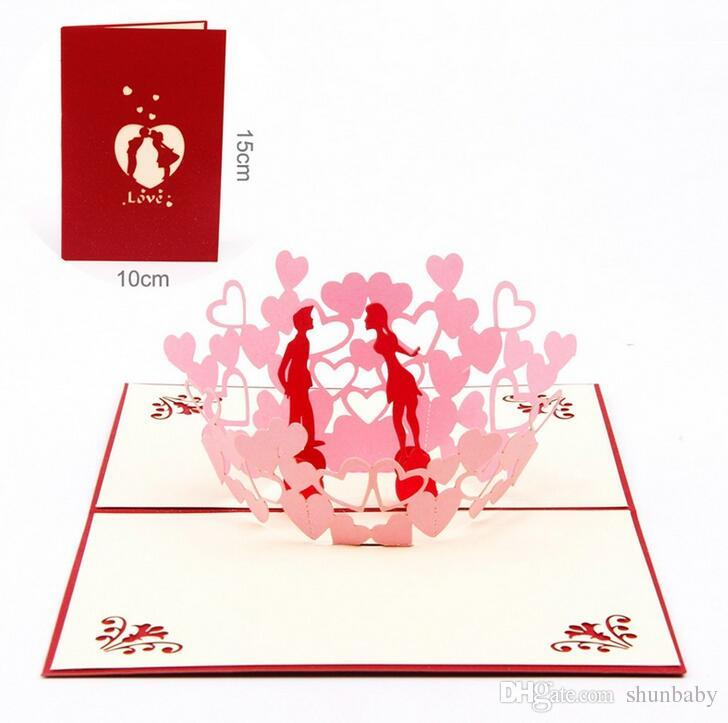 New 3D Pop Up Greeting Cards Invitations Valentine Lover Love Romantic Birthday Wedding Anniversary Gift Postcard Purchase Card Online