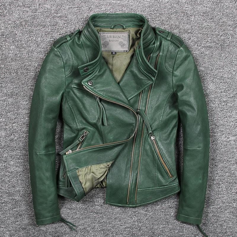 Motorcycle Women Leather Jackets Dark Green Sheepskin Lady Genuine