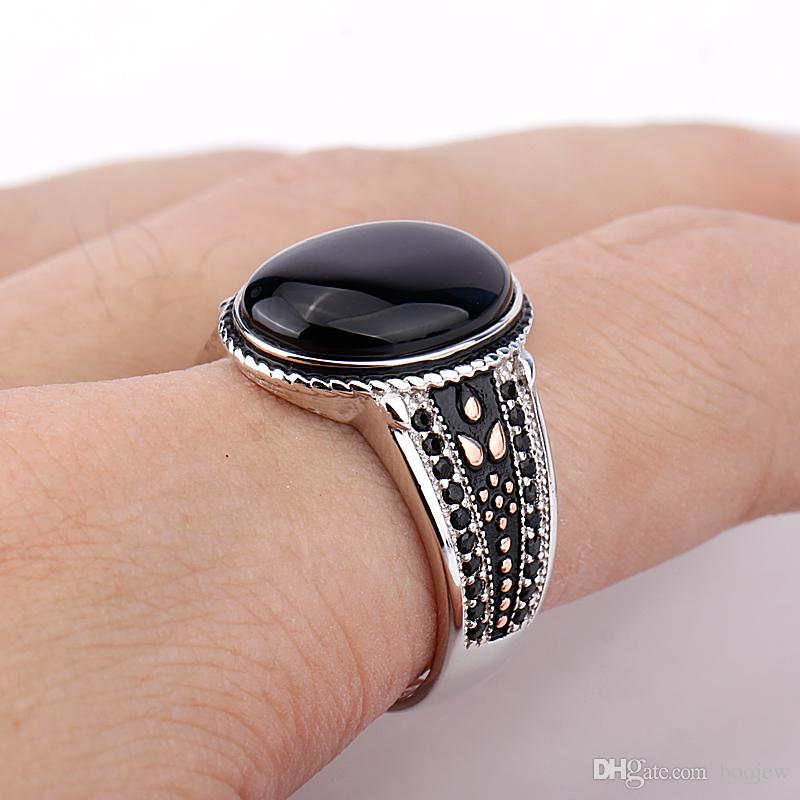 Cool 925 Sterling Silver Oval Black Stone with Black CZ Punk Style Finger Ring for Men Fine Jewelry New Arrival
