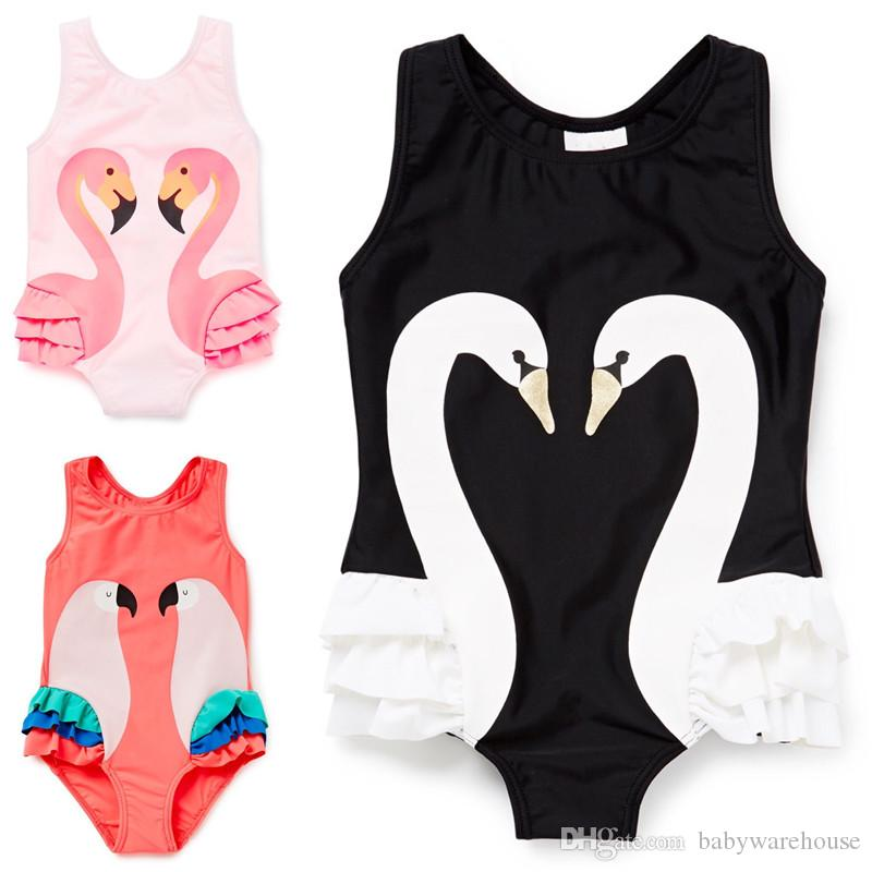 Summer Baby Girl Swimwear Flamingo Parrot Swan Pattern One-Pieces Swim with Hat 1-8Y Beach Girls Swimsuit Kids Children Swimming Costumes