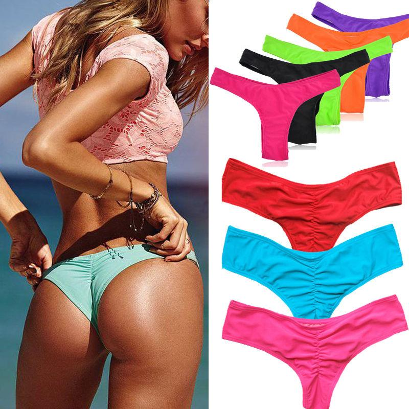 ca02f25e683 2019 2018 Sexy New Beach V Style Sexy Women Thong Bikini Underwear Brazilian  Bikini Bottom Ladies Ruched Back Bathing Suit From Luweiha, $32.0 |  DHgate.Com