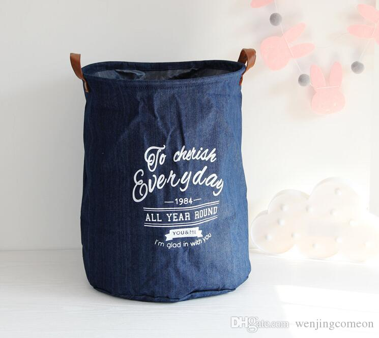 The New cowboy Cloth Waterproof Laundry Hamper Clothes Storage Baskets Home clothes barrel Bags kids toy storage organizer basket