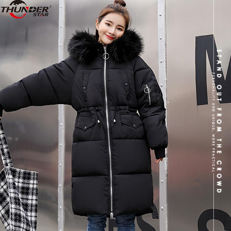3138a406ef46e 2019 Plus Size Winter Women Jacket Coats Big Fur Hooded Warm Winter Parka  Jackets Long Thicken Down Cotton Jacket Women Parkas Mujer From Suspender
