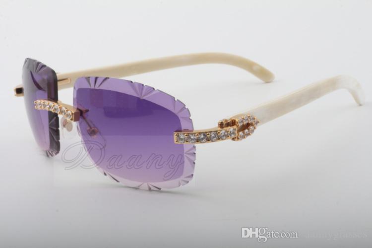 19 doğal beyaz boynuz güneş gözlüğü en çok satan, 8300075-A, yüksek kaliteli lüks elmas güneş gözlüğü boyutu: 58-18-140 güneş gözlüğü