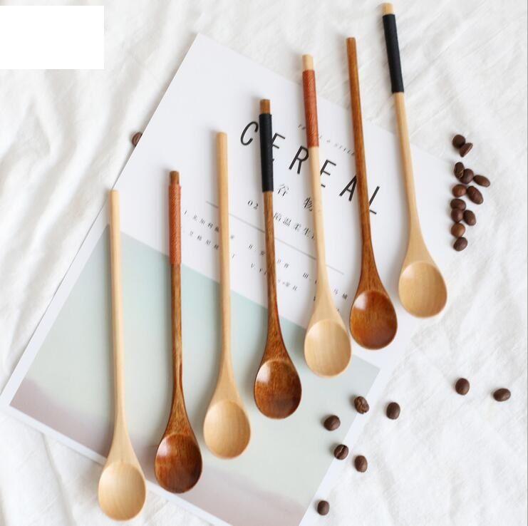20X2.8cm café en bois scoops créatif à long manche cuillères cordon grip cuillères crème glacée scoops lait thé couverts