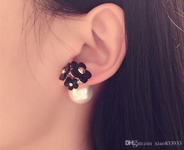 Sıcak Kore sevimli moda narin çiçekler çift taraflı spiral S925 gümüş inci küpe vahşi