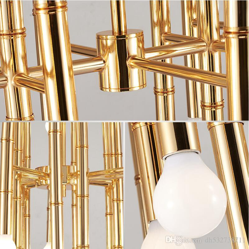 LED 42 BUlbs Bamboo droplight Jonathan Adler Meurice pendant lamp contemporary contracted, wrought iron rectangular Chandeliers
