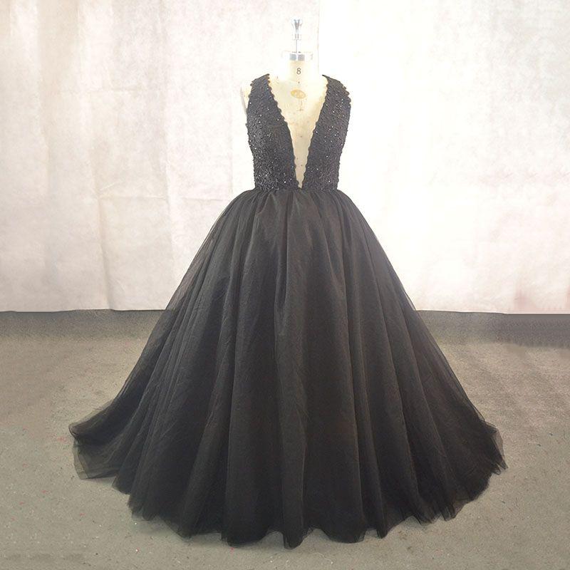 Seksi V Yaka Backless Artı Boyutu Akşam Balo Elbiseler Balo Sparkly Siyah Aplikler Boncuklu Tül Quinceanera Abiye Custom Made