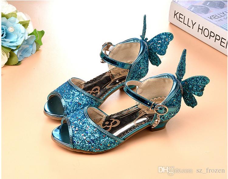 2018 verão borboleta princesa shoes crianças meninas sapatos de salto alto navio livre a-558