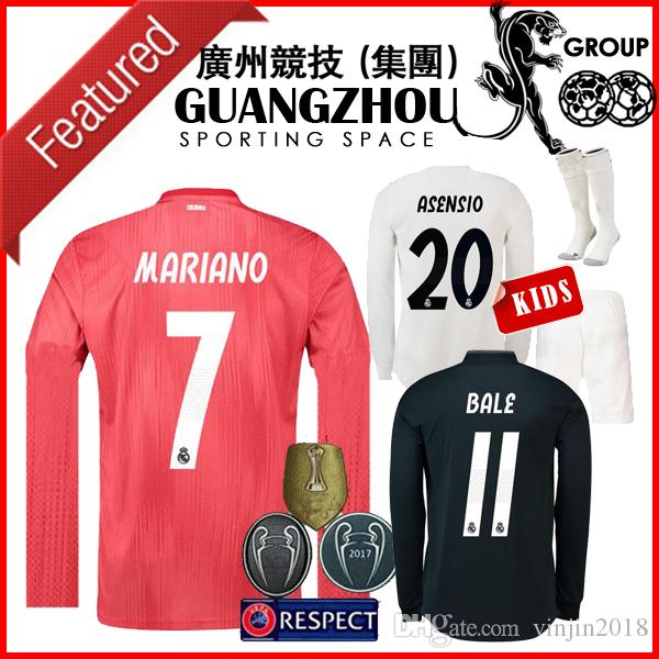 2019 18 19 REAL MADRID THIRD RED AWAY LONG SLEEVE KIDS SOCCER JERSEYS  MODRIC 10 HOME CHAMPIONS LEAGUE BALE JERSEY ASENSIO MARIANO 7 SHIRTS KIT  From ... 74de85379