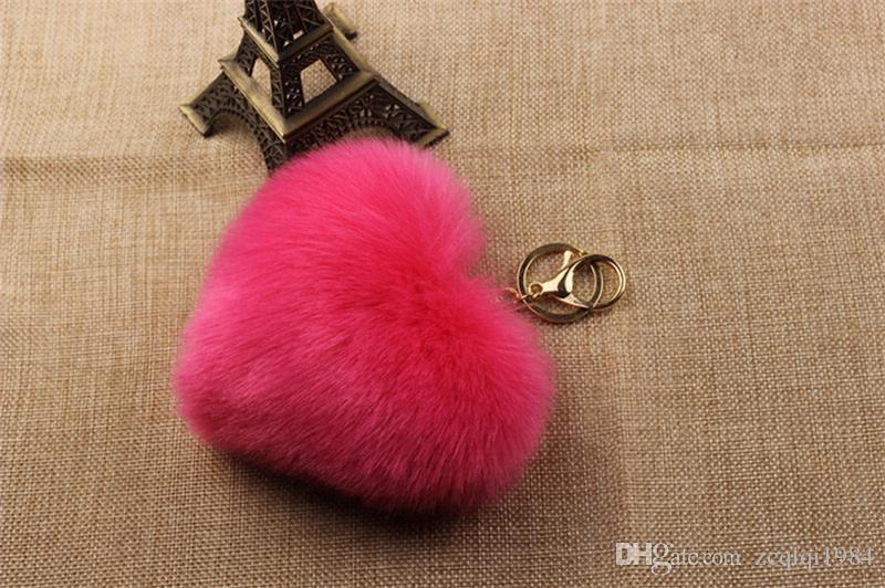 Faux Rex Rabbit Fur Pom Pom a forma di cuore Portachiavi Donna Borsa Charms Uomo Portachiavi auto gingillo