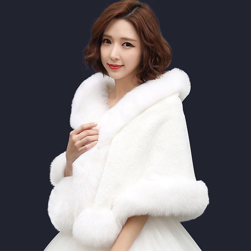 Hottest Women Faux Fur Shrugs Long Bridal Wraps Winter Warm Prom Evening Party Ladies Gorgeous Wedding Jackets Shawls Stoles Apparel Accessories