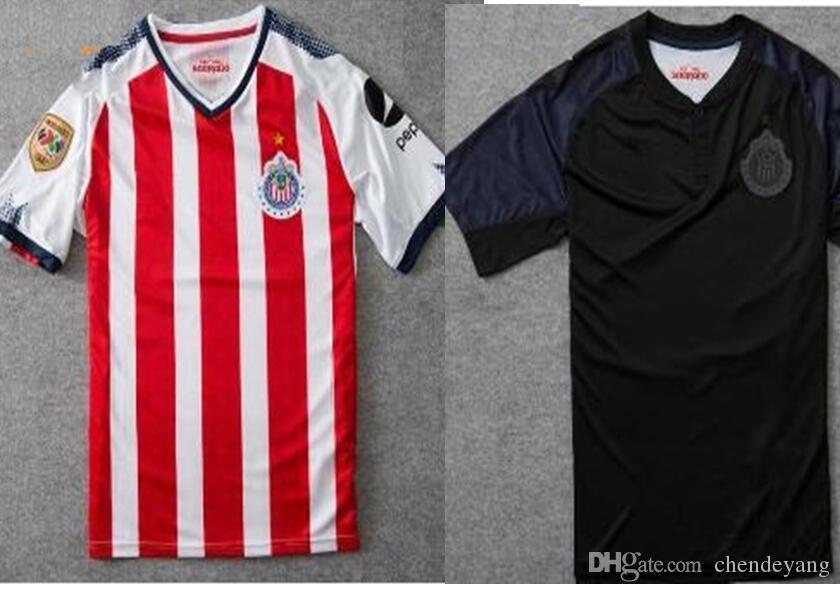d044d4cec60 Chivas de Guadalajara soccer jersey red white black Mexician Football Shirt  classic pink gua 2017 2018 camisetas de futebol A.PULIDO top new