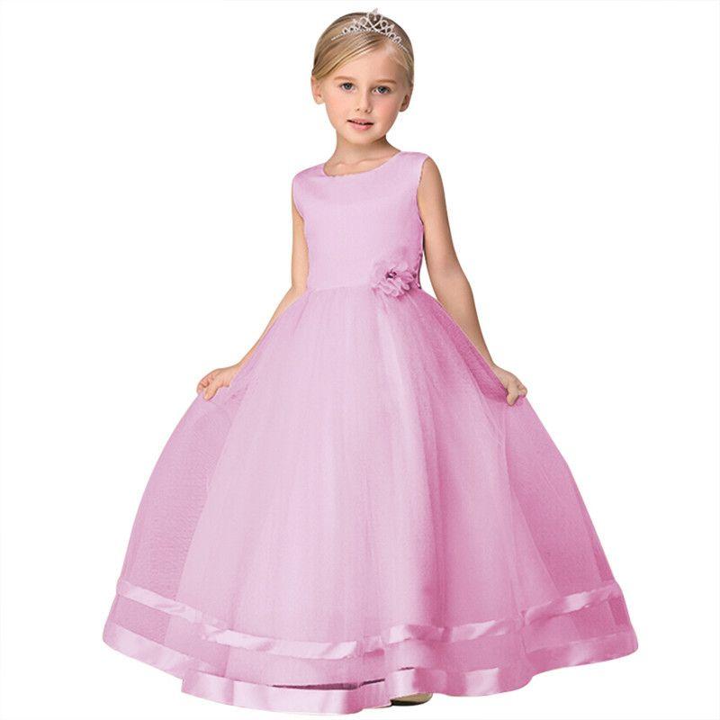 Одежда для вечеринок Дети Фиолетовый Розовый Синий Красный Платье для маленьких цветочниц на свадьбе Вечерние детские платья для девочек