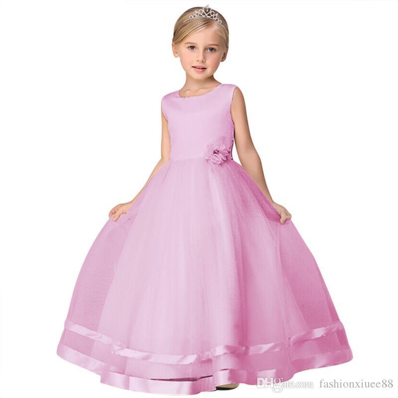 Pretty Lace Blue Puffy Vestidos de niña de las flores 2018 High Low Appliques de encaje Vestidos de comunión Vestidos del desfile para niñas