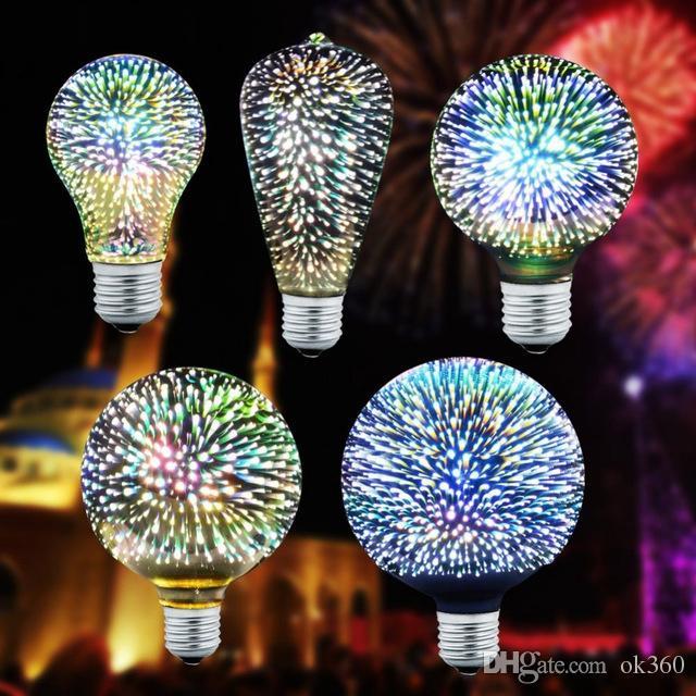 3D-Stern-LED-Birnen-E27 Buntes Feuerwerk Edison-Birne A60 ST64 G80 G95 G125 Neuheit-Lampe Retro Glühfaden Licht