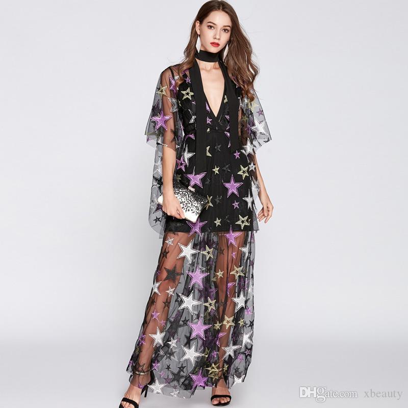 Großhandel Neue Ankunft 2018 Frauen Sexy V Ausschnitt Mit Langen Ärmeln  Stickerei Sterne Elegante Party Prom Maxi Designer Runway Kleider Von  Xbeauty, ... eb56ac8e10