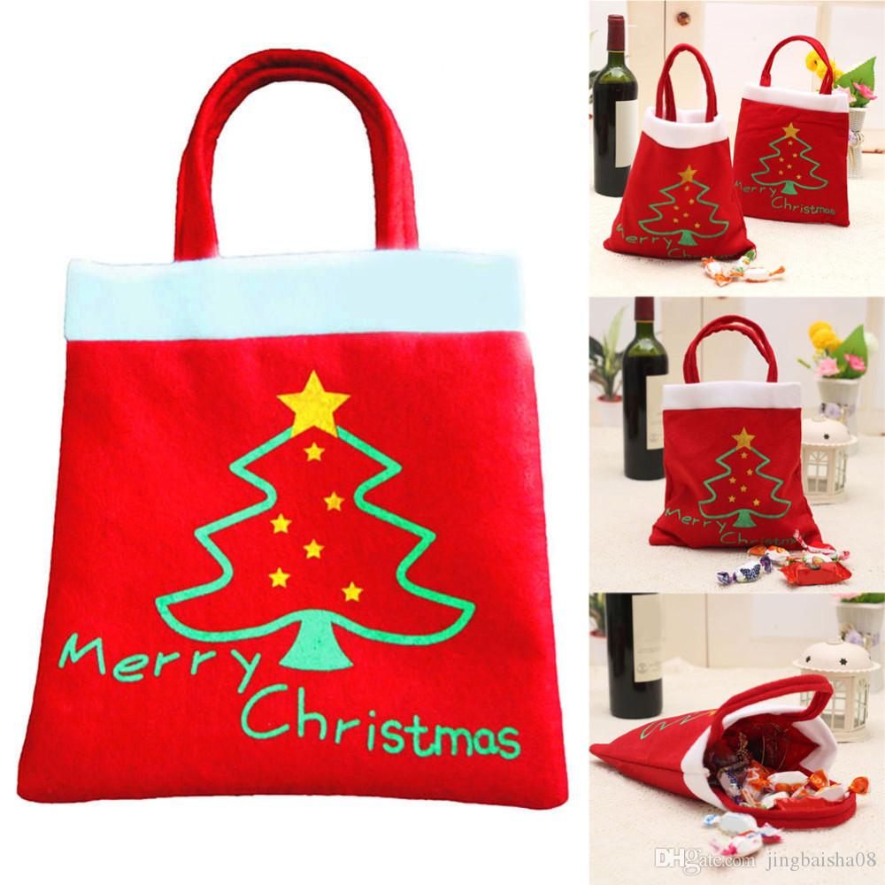 199ad1ad76be Creative Christmas Tree Pattern Santa Claus Candy Bag Handbag Home Party  Decoration Gift Bag Christmas Supplies Glass Christmas Ornament Glass  Christmas ...