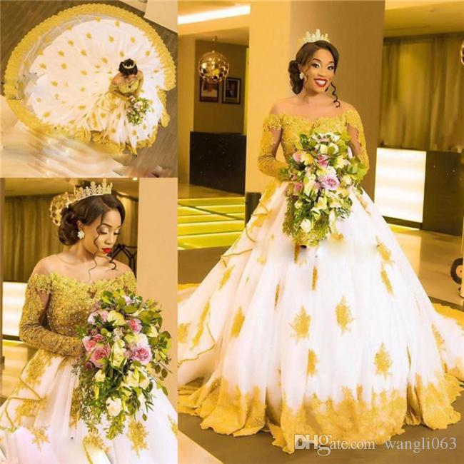 2018 African Plus Size Wedding Dresses Off The Shoulder Gold