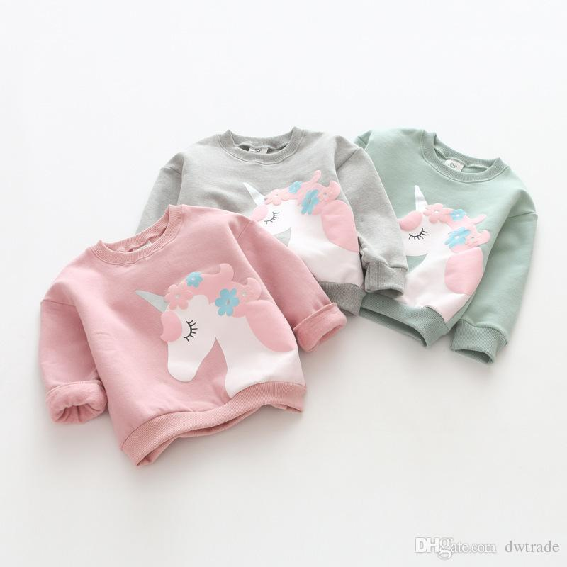 a07ee8ca19c1 2019 INS Girls Unicorn Printed Long Sleeve Cotton Candy Colors T Shirt Baby  Clothing For Girl Tshirts Unicorn Printed Kids Outfit Birthday Shirts From  ...