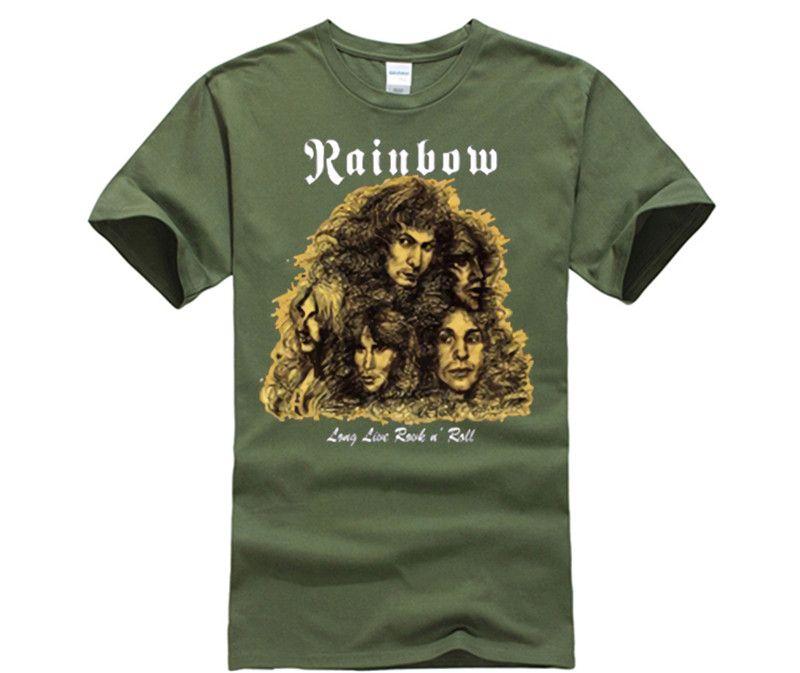 266724d8f New Rainbow Long Live Rock n Roll Metal Band Men's Black T-Shirt Size Men  Cotton T-Shirt Printed T Shirt