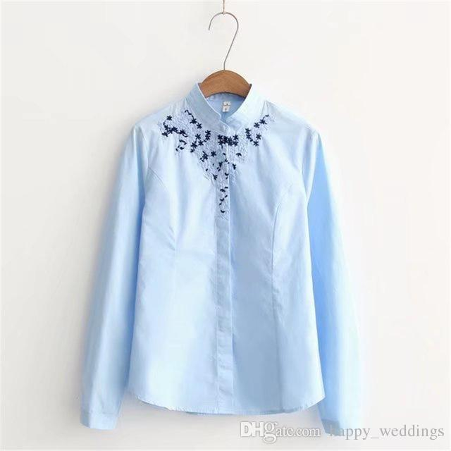2019 2018 Korean Embroidery New Women S Blouses Floral Cotton Women