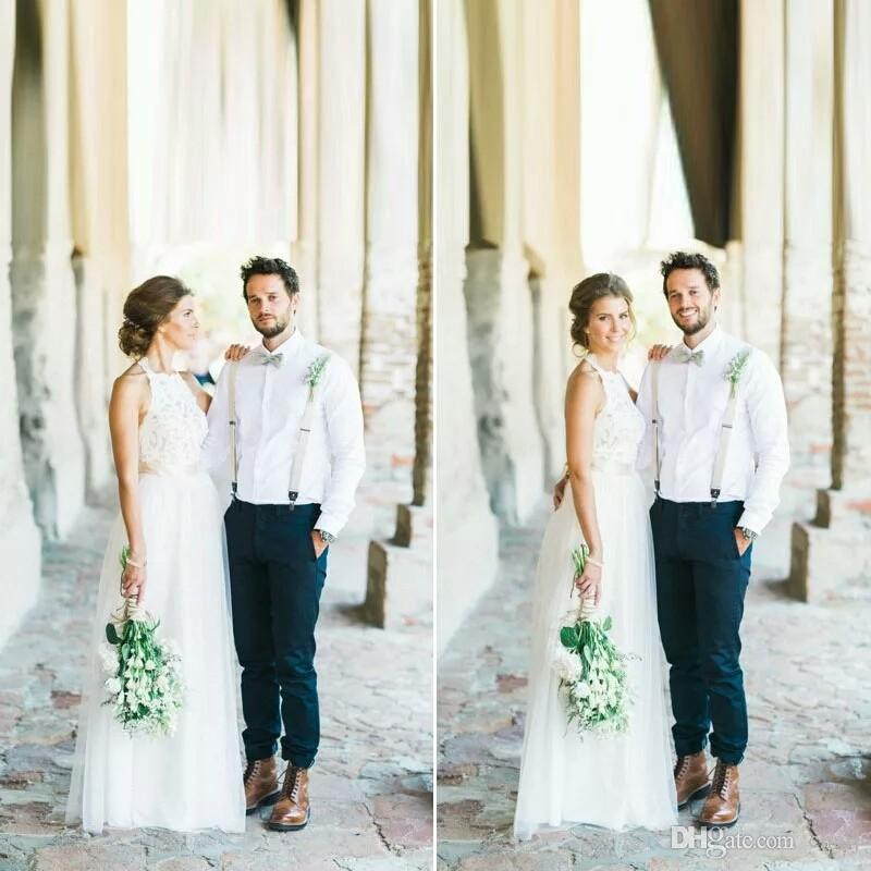 Robe de Mariage 2020 Estate Bianco / avorio Tulle Abiti da sposa in pizzo Boemia Beach semplice Scollo all'americana Backless da cerimonia nuziale vestidos de noiva
