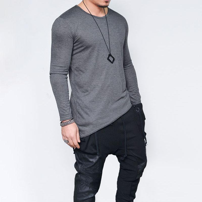 5e570e92b0d Fall Mens New Fitness Casual Long Sleeves Bevel Hem Solid Color T Shirt Thin  Breathable Slim Fit Bottom Pullover Tops Tee Online T Shirts Funky T Shirts  ...