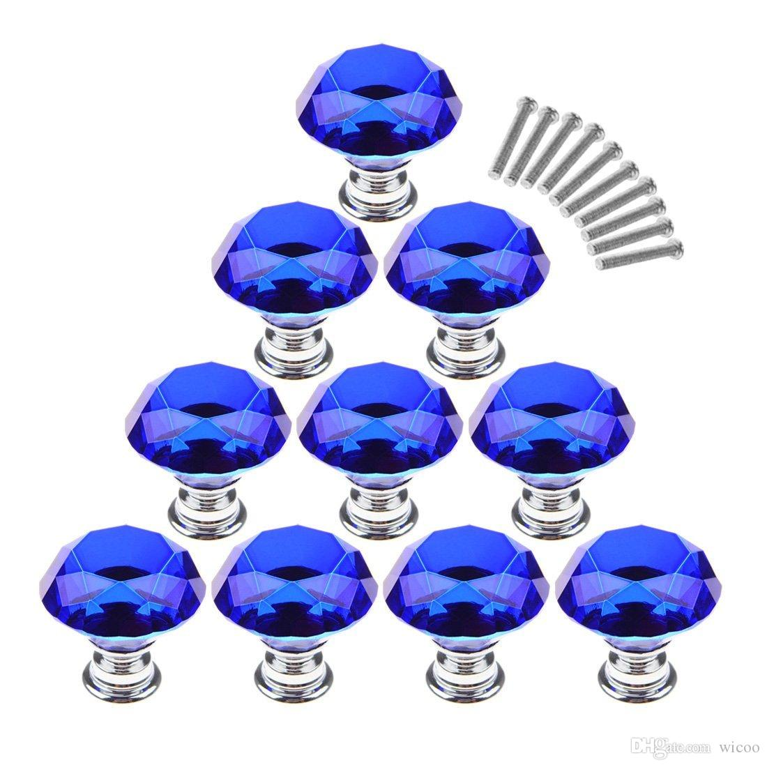 10Pcs/Set 30mm Crystal Glass Diamond Shape Cabinet Knobs Cupboard Drawer Pull Handles - Dark Blue