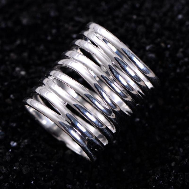 and for women jewelry men braided item sterling rings fine punk genuine vintage silver ring jewellery