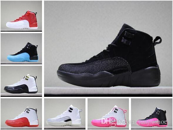 premium selection 08ffa ae63f Boys Girls 12 12s Kids Basketball Shoes Childrens 12s Gym Red Pink And  White Purple French Blue Toddlers Birthday Gift With Shoes