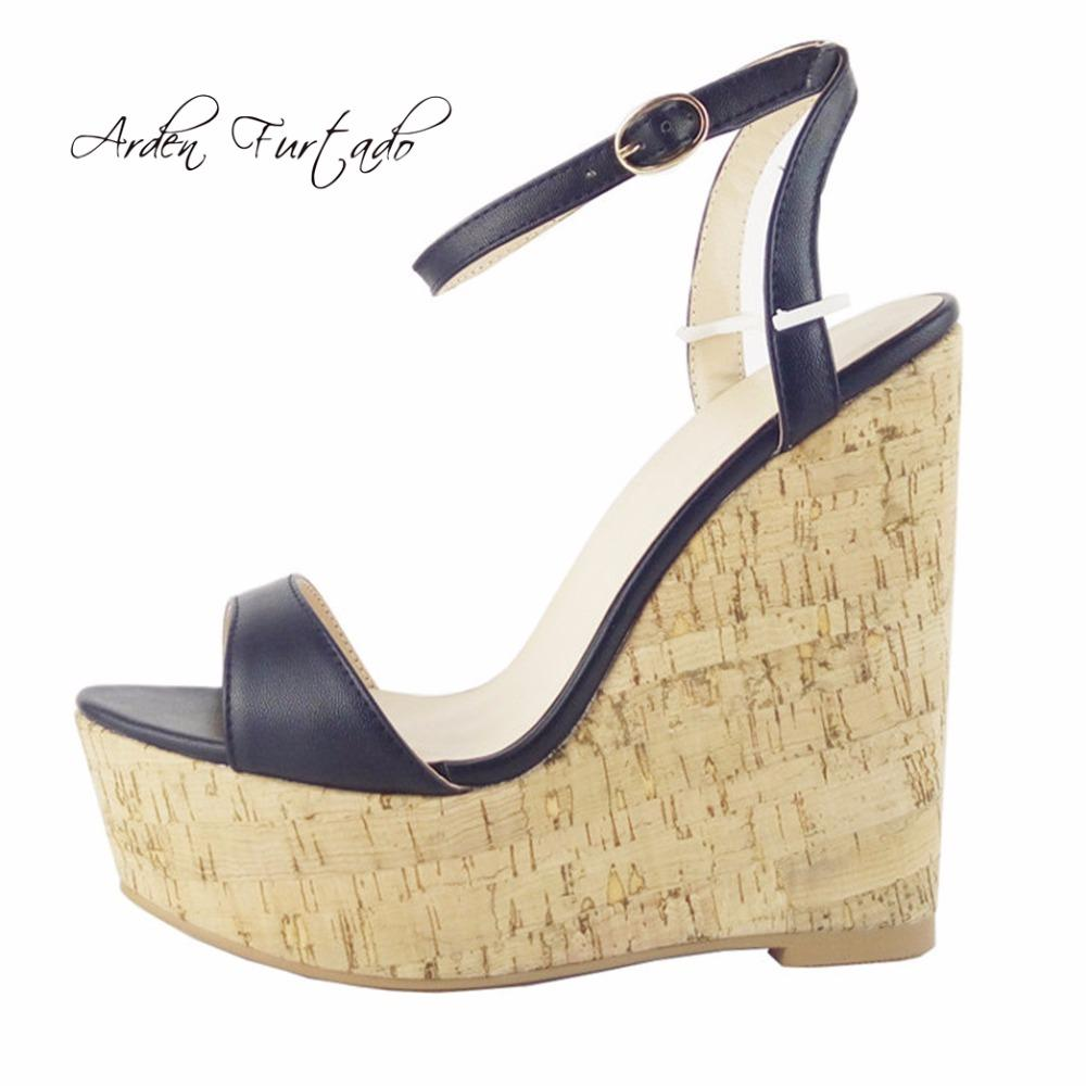 ee5daabb0e5b Arden Furtado 2018 Summer High Heels 15cm Platform Wedges Buckle Strap  Casual Fashion Sandals Shoes For Woman Big Size Ladies Chaco Sandals Jack  Rogers ...