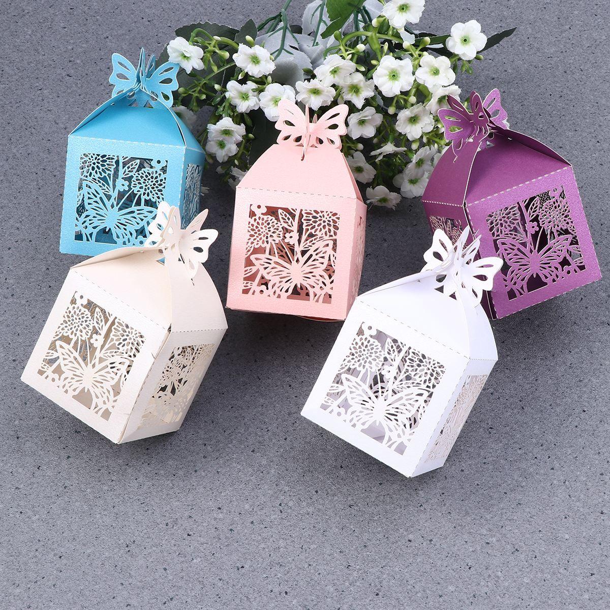 5 Couleur 50 Pcs Boîte De Faveur De Mariage Papillon Creux Out Craft Boîte De Papier Pour Cadeaux Bonbons Bonbons De Mariage Fête Danniversaire