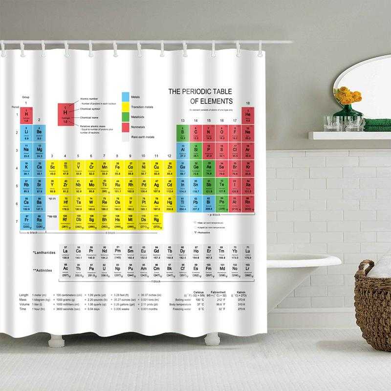 Periodic Table Of The Elements Shower Curtain Mouldproof Waterproof Polyester Washable Bath Decor 150180 180180 Curtains Cheap