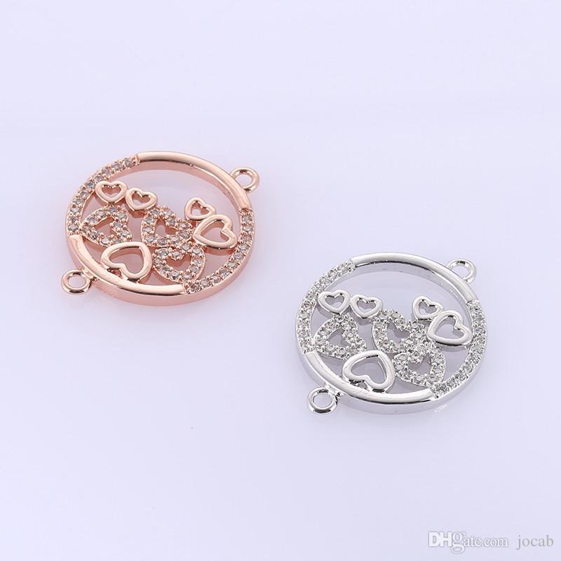Оптовая ручной работы DIY ювелирные изделия аксессуары круглый круг с сердца кулон подвески выводы браслеты ожерелье подвески разъемы
