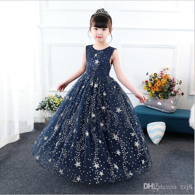 397d4a2ea22 Fashion Dark Blue Dresses for Kids Starry Sky Dot Print Long Dress ...