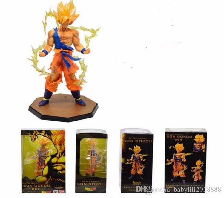 wholesales Japan Hot Sales Anime 18CM dragon ball z Son Goku action figures Super Saiyan PVC Collectible Toy model for Birthday Gift