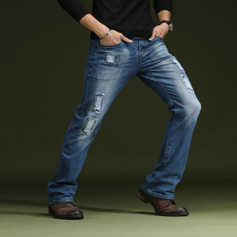776b2c13d66 2019 Mens Bootcut Jeans Blue Flared Ripped Jeans For Men Slim Stretch Bell  Bottom From Balsamor, $65.65   DHgate.Com