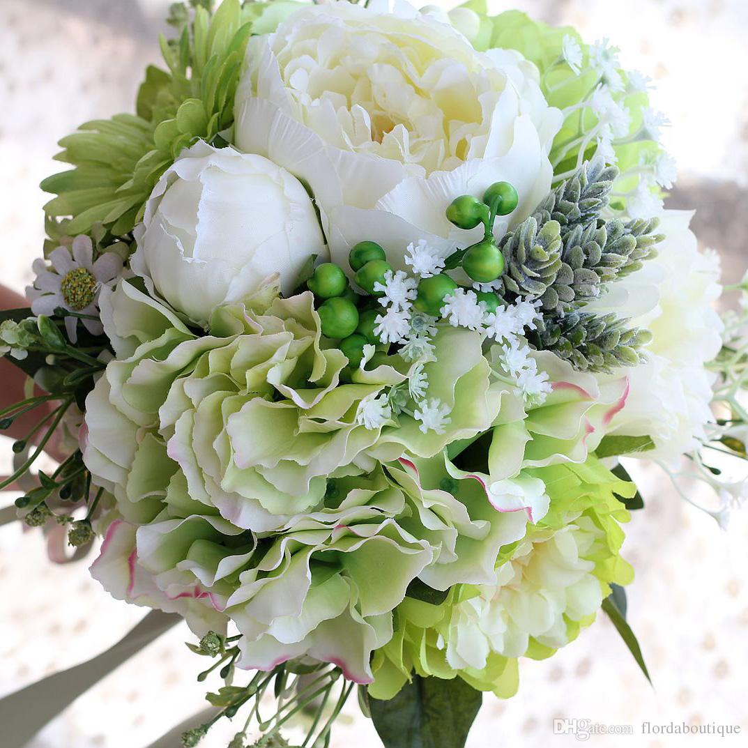 2018 silk wedding bouquet handmade flowers ivory and green cheap do you want to make your wedding day unique this flower makes you stunning we promise fast delivery and high quality izmirmasajfo Choice Image