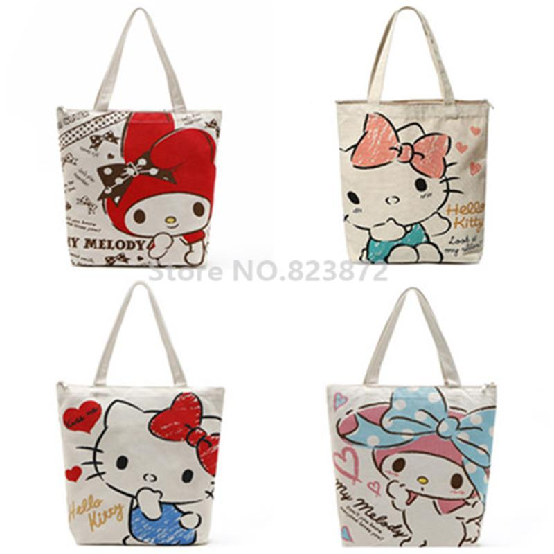 Kawaii Hello Kitty Melody Reusable Canvas Shopping Bag Zipper Women  Shoulder Bags Tote Handbag Cartoon School Book Bag Canvas Shopping Bag  Shopping Bag ... 0fc466d70d