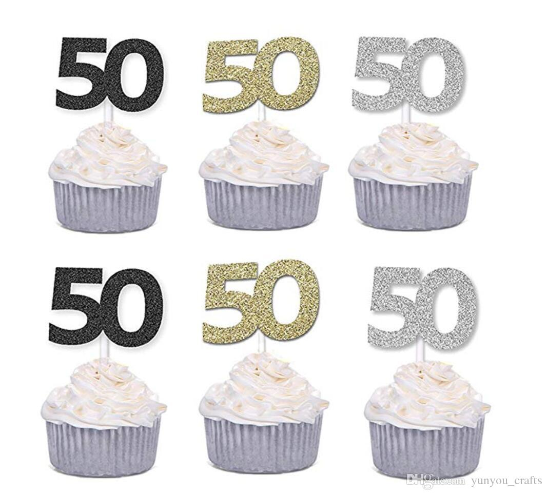 50pcs Golden Silver Black Number 50 Cupcake Toppers 50th Birthday Celebration Cake Decors Celebrating Anniversary Party Decor