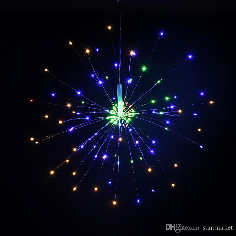 120Led Battery Box Lampada fuochi d'artificio 8 Modalità Explosion Star Rame Wire String Luce Telecomando Decorazione String Light per Party Bar Wedding