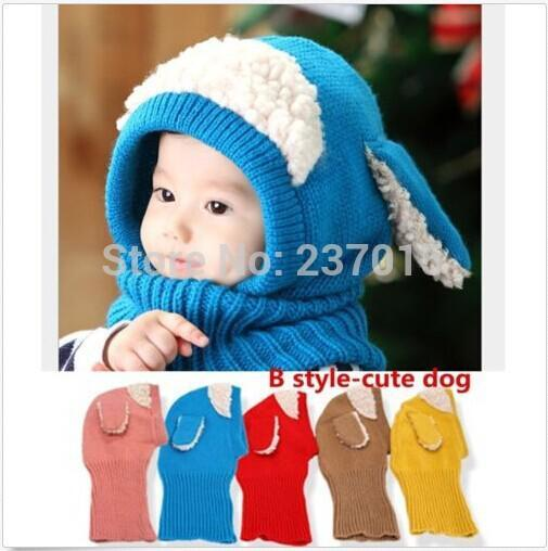 9838f46c494 2019 Wholesale Hot Winter Beanie Cute Dog Ear Design Gorros Baby Kids Boy  Girl Warm Hats Hooded Scarf Earflap Crochet Knitted Wool Cap From Sugarher
