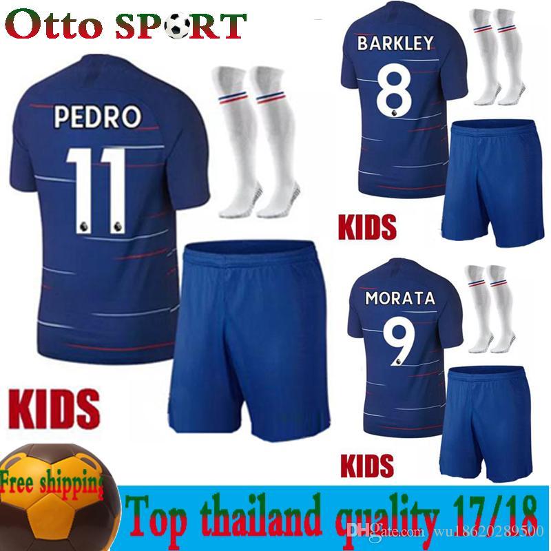 Compre Conjunto De Niños Al Por Mayor Kits Para Niños 2018 2019 10 PELIGRO  Home Blue Soccer Jersey 18 19 9 MOROTA 22 WILLIAN Camiseta De Fútbol De  Manga ... 06a9c83fad5dc