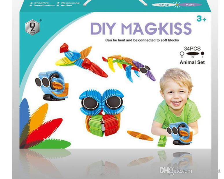 kit de construção magnética novidade flexível silicone blocos de construção mix colorido tiras magnéticas toys kids toys