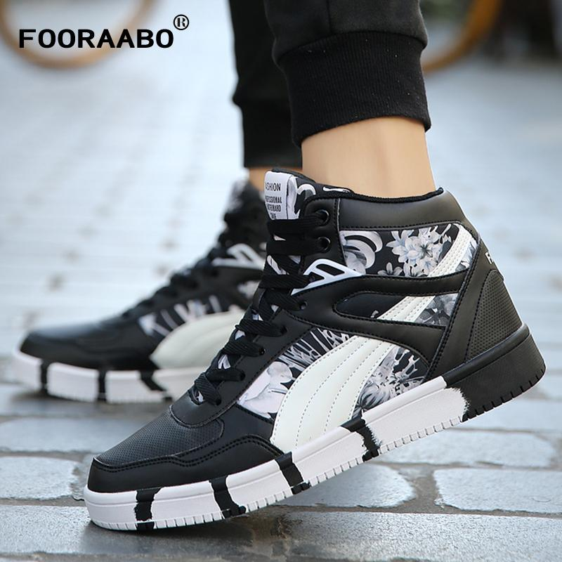 ost release dates Fooraabo 2017 New Printing Mens Sneakers Casual Flats Shoes Autumn Luxury Unisex Hip Hop Male High Top PU Leather Shoes Sneakers finishline cheap online QwfyBXU9