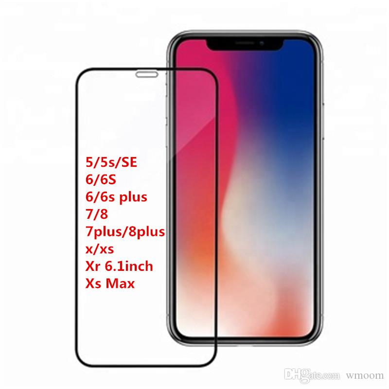 buy popular 6e83e c9d64 New iPhone XS MAX Screen Protector Full Coverage Tempered Glass Screen  Protectors Film Edge to Edge Protection for Apple iPhone XR X 8plus 7