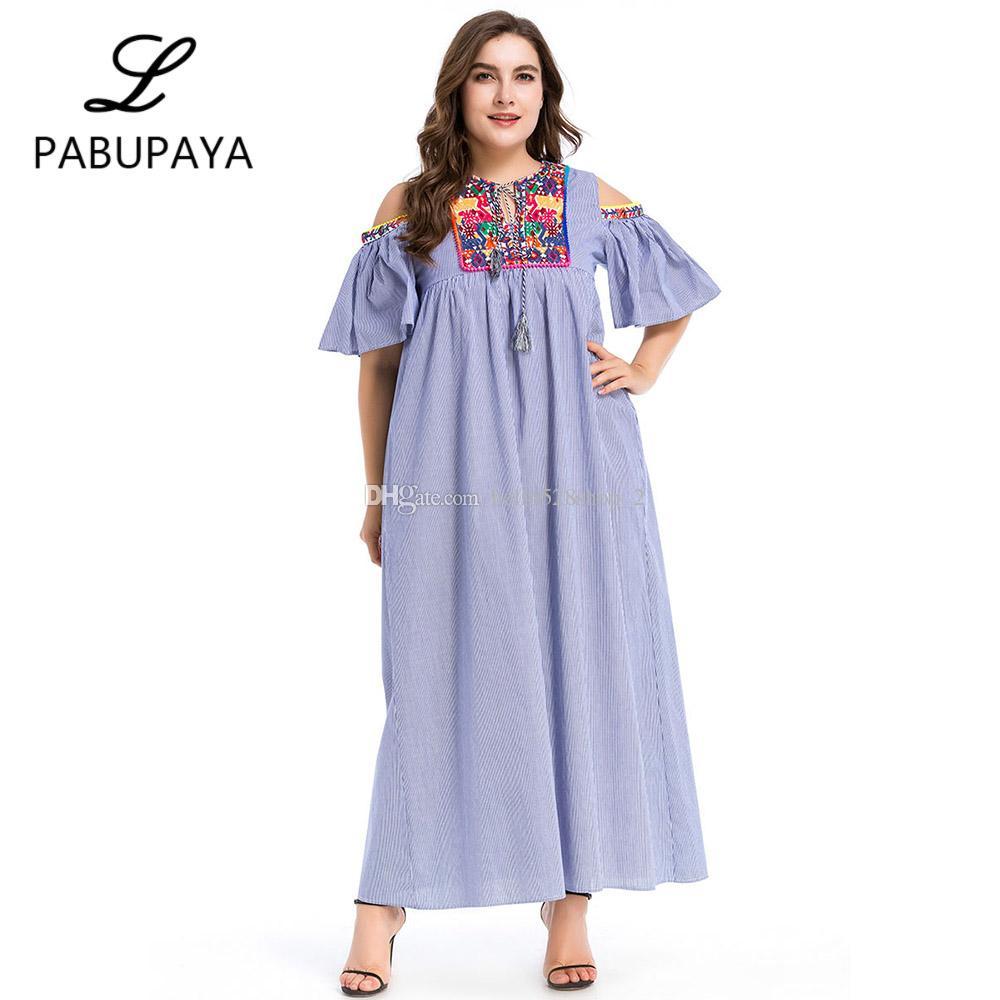 f511bba4f9be Großhandel Nationalen Stil Frauen Moslemische Kleidung Casual Kurzarm  Langes Kleid Abaya Islamische Kostüm Arabische Muslime Sommer Maxi Dress  Von ...